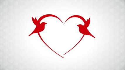 Red birds in love, heart Animation Design, HD 1080