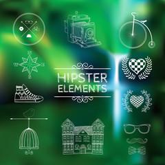 Hand-drawn elements on blurred background.