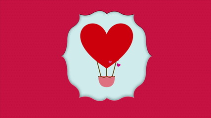 Red balloon with heart shape,  Animation Design, HD 1080