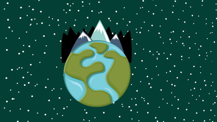 Illustration of planet with ice mountains, Animation Design, HD