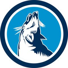 Red Fox Head Howling Circle Retro
