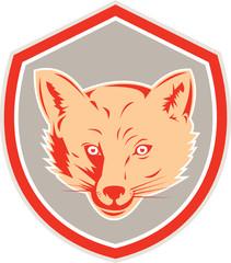 Red Fox Head Front Shield Retro