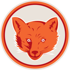 Red Fox Head Front Circle Retro