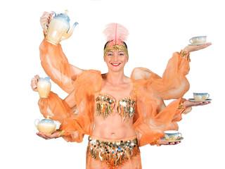 woman in oriental costume drink offers