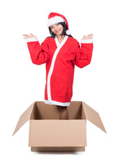 woman in Santa Claus dress inside paper box