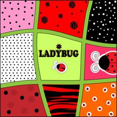 ladybug background invitation card vector