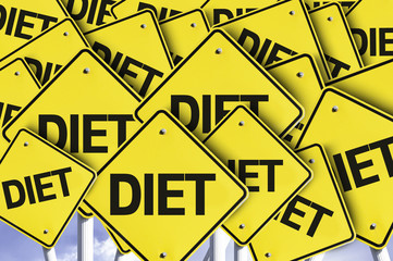 Diet written on multiple road sign