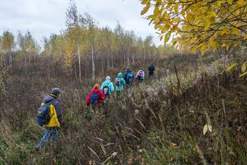 Группа туристов, идущая по высокой траве.