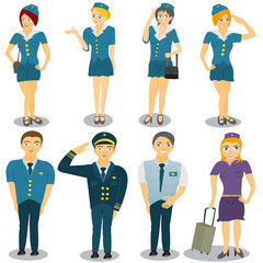 stewardess vector illustrations
