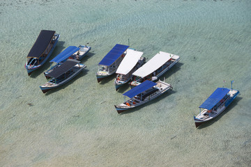 A couple of fisher ships from birds eye view