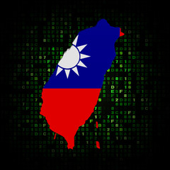 Taiwan map flag on hex code illustration