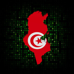 Tunisia map flag on hex code illustration