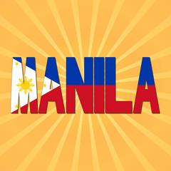 Manila flag text with sunburst illustration