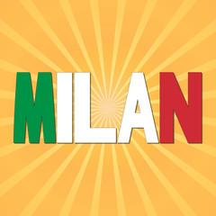 Milan flag text with sunburst illustration