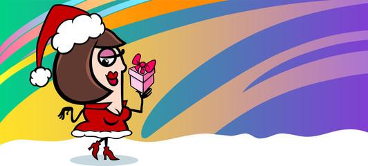 woman santa greeting card cartoon