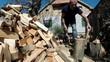 Man Chopping Firewood With an Axe