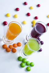 vodka with colorful candy