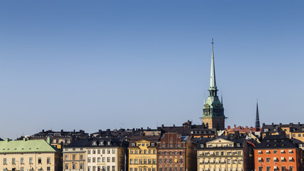 Rooftop skyline of Gamla Stan, the old town quarter of Stockholm