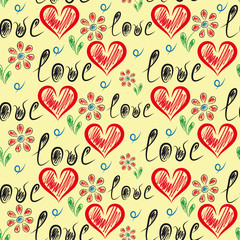 Romantic seamless background with hearts and caption love