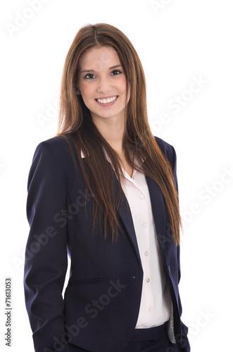 canvas print picture Attraktive junge lachende Business Frau in Blazer und Bluse