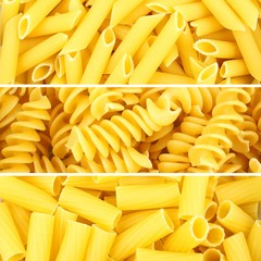 Italian pasta collage of three various borders or backgrounds