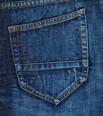 Navy blue jeans back pocket