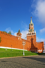 Clock tower on the Red Square in Moscow Russia
