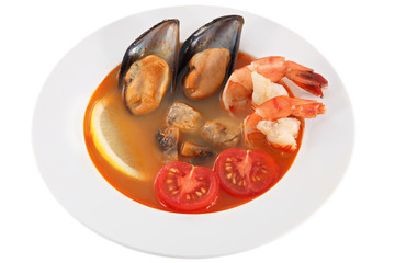 Seafood soup with fresh tomatoes, isolated on white background