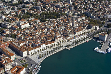 Aerial view of Diocletian Palace, Town Split, Croatia