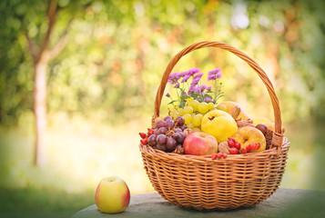 Autumnal fruits in wicker basket