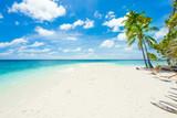 Fototapety Rest in Paradise - Malediven - Palmenstrand, Himmel und Meer