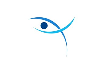 eye vision logo,optic abstract,people religious,bird,fish,vector