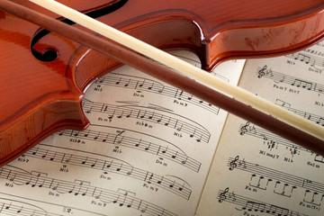 violino e archetto su pagine di musica