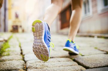 Female runner, feet closeup