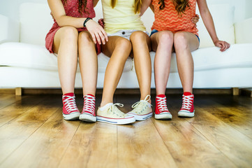 Closeup of girls in sneakers