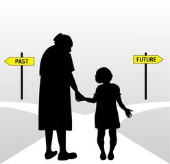 anziana accompagna una bambina
