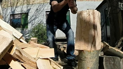 Splitting Wood With An Axe Zoom In