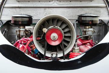 Engine of a vintage car