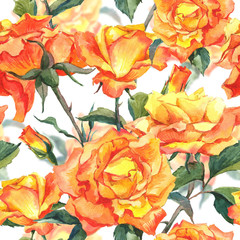 Watercolor Seamless Pattern with Yellow Roses