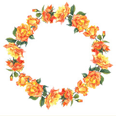 Watercolor Round Frame with Yellow Roses