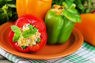 Composition with prepared stuffed peppers