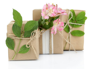 Natural style handcrafted gift boxes with fresh flowers and