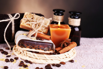 Organic soap with coffee beans, sea salt