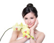 Beauty with yellow orchids
