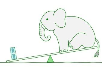 シーソー、象よりお金が重い