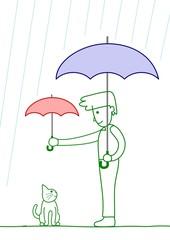 猫に傘を差し出す男性