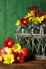 Beautiful chrysanthemum in vases with apples