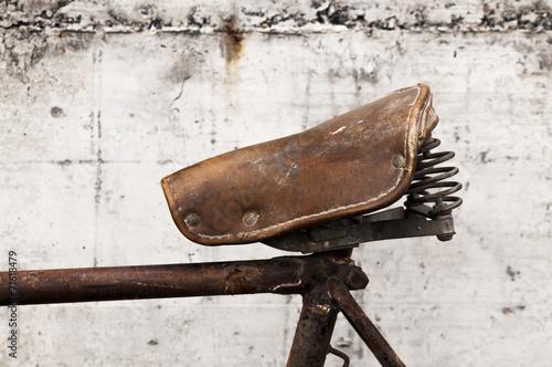 Antique or retro bicycle saddle