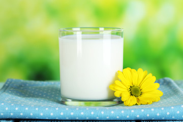Milk in glass on napkin on natural background