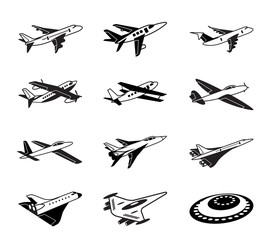Various airplanes in flight  - vector illustration
